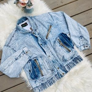 Vintage Acid Wash Denim Jacket with Leather Trim